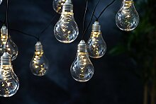 Hochwertige Party - Lichterkette SOLAR - Gesamtlänge 180 cm + 200 cm Zuleitung - ideal zur Beleuchtung von Pflanzen, Pergola , Mauern , Pavillon , Bäumen und Büschen - LED SOLAR LICHTERKETTE - mit 10 LED - Lampen und einem Solar - Panel - Solar Energy - Für den Innen- und Außenbereich geeignet - aus dem KAMACA-SHOP - In Weiß und Bunt erhältlich (Weiß)