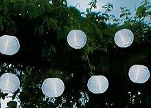 Hochwertige Party - Lichterkette SOLAR , Gesamtlänge 470 cm , ideal zur Beleuchtung von Pflanzen, Pergola , Mauern , Pavillon , Bäumen und Büschen - LED SOLAR LICHTERKETTE - mit 10 LED - Lampen und einem Solar - Panel mit Dämmerungsensor - Solar Energy - Für den Innen - und Außen - Bereich geeignet - aus dem KAMACA-SHOP , FARBE : (Weiß)