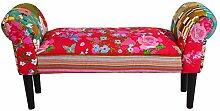 Hochwertige Patchwork Sitz Bank Polster Mobiliar Stoff Textil Holz Füße 102 cm lang BHP B412248