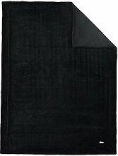 Hochwertige s.Oliver Kuscheldecke / Wohndecke / Wolldecke / Tagesdecke / Felldecke  Artikel 3690 Farbe 860 schwarz 150 x 200 cm