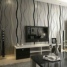 Hochwertige schwarze und graue Thess Wellenlinien auf dem Vlies Tapete Wasser Kurve gestreifte Tapete schlafzimmer wohnzimmer Hintergrundbild , 10050, 53*1000