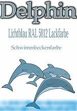 Hochwertige SCHWIMMBADFARBE - CHLORKAUTSCHUK- POOLFARBE SCHWIMMBECKENFARBE FISCHBECKEN POOL SCHWIMMBAD SCHWIMMBECKEN BESCHICHTUNG FARBE (Lichtblau RAL 5012, 5 Liter)