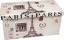 Hochwertige Sitzbank Sitzhocker Paris Sitzwürfel Aufbewahrungsbox 76,5 x 38 x 38cm inkl. 1 Rolle 16l Abfallbeutel
