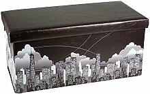 Hochwertige Sitzbank Sitzhocker Skyline Sitzwürfel Aufbewahrungsbox 76,5 x 38 x 38cm inkl. 1 Rolle 16l Abfallbeutel