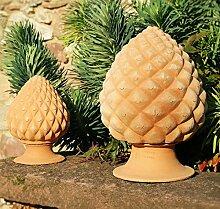 hochwertige Terrakotta Pinienzapfen, 45 cm, frostfest mediterrane Deko Außenbereich Garten
