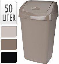 hochwertigen 50LT Kunststoff Flip Top Abfall Küche Mülleimer Mülltonne beige