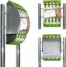 Hochwertiger Edelstahl Standbriefkasten mit Fuß und Motiv: Gartenzaun