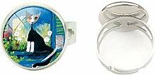 Hochwertiger handbemalter Ring aus Glas mit bunten