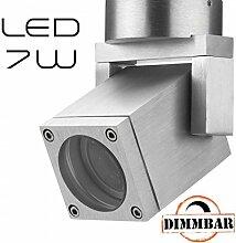Hochwertiger LED Aufbaustrahler 1800-3000K - 7W - Ra>95 - schwenkbar - CNC gefrästes Alu - silber - warmweiß - für Innen und Außen - IP65