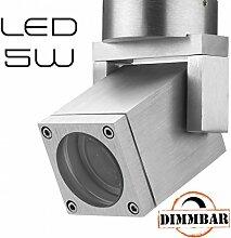 Hochwertiger LED Aufbaustrahler schwenkbar dimmbar inkl. LED GU10 Markenstrahler von LEDANDO 5W - CNC gefrästes Alu - silber - warmweiß - für Innen und Außen - IP54