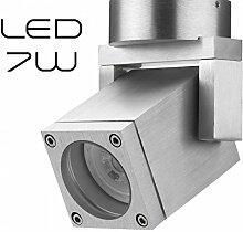 Hochwertiger LED Aufbaustrahler schwenkbar inkl. LED GU10 Markenstrahler von LEDANDO 7W - CNC gefrästes Alu - silber - warmweiß - für Innen und Außen - IP54