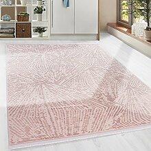 Hochwertiger moderner Acryl Teppich in Holz- und Steinschlieren und Fransen, 3D effekt 5 Groessen Pulver Pink meliert Wohnzimmer, Gästezimmer, Flur, Schlafzimmer, Läufer, Größe:160x230 cm
