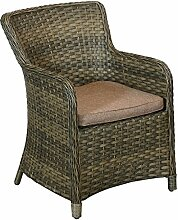 Hochwertiger Poly Rattan Relaxsessel Gartensessel Loungesessel Rattansessel - 61x61x86cm, Sitzkissen, braun-meliert - Loungemöbel Gartenmöbel Terrassenmöbel