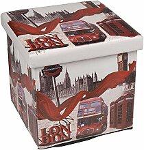 Hochwertiger Sitzhocker London rot Sitzwürfel Aufbewahrungsbox 38 x 38 x 38cm inkl. 1 Rolle 16l Abfallbeutel