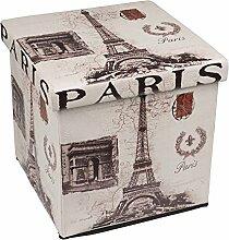 Hochwertiger Sitzhocker Paris Sitzwürfel Aufbewahrungsbox 38 x 38 x 38cm inkl. 1 Rolle 16l Abfallbeutel