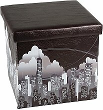 Hochwertiger Sitzhocker Skyline Sitzwürfel Aufbewahrungsbox 38 x 38 x 38cm inkl. 1 Rolle 16l Abfallbeutel