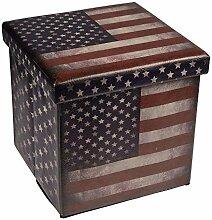 Hochwertiger Sitzhocker USA Sitzwürfel Aufbewahrungsbox 38 x 38 x 38cm inkl. 1 Rolle 16l Abfallbeutel