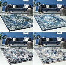 Hochwertiger Teppich Flachflor Orientalisch Klassisch Ornamente Modern Blau Beige Grau Weiß Wohnzimmer, Größe in cm:80 x 150 cm;Farbe:Schwarz / Blau