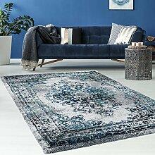 Hochwertiger Teppich Flachflor Orientalisch Klassisch Ornamente Modern Blau Beige Grau Weiß Wohnzimmer, Größe in cm:120 x 170 cm;Farbe:Grau / Weiß
