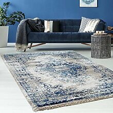 Hochwertiger Teppich Flachflor Orientalisch Klassisch Ornamente Modern Blau Beige Grau Weiß Wohnzimmer, Größe in cm:80 x 300 cm;Farbe:Beige / Weiß