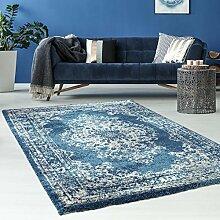 Hochwertiger Teppich Flachflor Orientalisch Klassisch Ornamente Modern Blau Beige Grau Weiß Wohnzimmer, Größe in cm:160 x 230 cm;Farbe:Blau / Grau