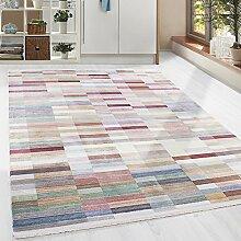 Hochwertiger Teppich Vintage Stil Kariert Gingham und Fransen, 5 Groessen Grau Blau Gelb Pink Lila Orange meliert Wohnzimmer, Gästezimmer, Flur, Schlafzimmer, Läufer, Größe:120x180 cm