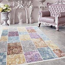Hochwertiger Teppich Vintage Stil Patchwork und Fransen, 5 Groessen Grau Blau Gelb Pink Lila Orange meliert Wohnzimmer, Gästezimmer, Flur, Schlafzimmer, Läufer, Größe:160x230 cm