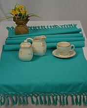 Hochwertiger Tischläufer Tischband Läufer Fransendecke Türkis 100% Baumwolle 50 x 150 cm