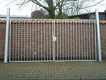 Hochwertiges, 2-flügeliges Einfahrtstor verzinkt / Tor-Einbau-Breite: 300 cm - Tor-Einbau-Höhe: 180 cm - Inklusive 2 Pfosten / Gartentor Einfahrtstor Hoftor