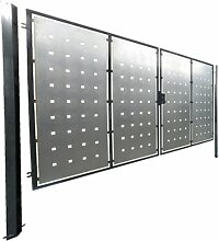 Hochwertiges, 2-flügeliges Tor / Einbaubreite: 400cm / Einbauhöhe: 150cm / Inklusive 2 Pfosten (60mm x 60mm) / Füllung (Bleche) verzinkt / Rahmen grau beschichtet / Einfahrtstor Gartentor Hoftor