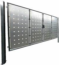 Hochwertiges, 2-flügeliges Tor / Einbaubreite: 500cm - Einbauhöhe: 180cm - Inklusive 2 Pfosten (60mm x 60mm) / Füllung (Bleche) verzinkt / Rahmen grau beschichtet / Einfahrtstor Gartentor Hoftor
