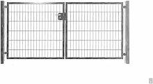 Hochwertiges 2-flügeliges Tor Verzinkt / Einbaubreite 200cm x Einbauhöhe 123cm / 2-flügelig Verzinkt Tor Hoftor Doppeltor Gartentor