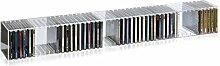 Hochwertiges Acryl-Glas Wandboard / Wandregal / CD BLU-Ray DVD Regal mit Rückwand und Unterteilungen, transparent, L101 x T14 cm, H14 cm, Acryl-Glas-Stärke 4 mm
