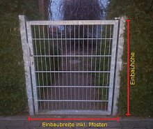 Hochwertiges Gartentor Hoftor / Verzinkt / Tor-Einbau-Breite: 125 cm - Tor-Einbau-Höhe: 143 cm - Inklusive 2 Pfosten (60mm x 60mm) / Mattentor