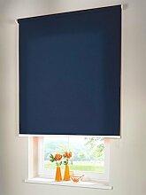 Hochwertiges Sichtschutzrollo Mittelzugrollo Springrollo Rollo Verdunkelung 242 x 230 cm / 242x230 cm dunkelblau // Sichtschutzrollo / Sichtschutz-Rollo / Fensterrollo