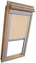 Hochwertiges Verdunkelungsrollo Rollo mit Seitenschienen für Velux DKL Y-EP VL Y,VU Y,VK,VKU Y87 beige-karamell // Verdunkelungsrollo / Verdunkelungs-Rollo / Fensterrollo