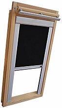 Hochwertiges Verdunkelungsrollo Rollo mit Seitenschienen für Velux DKL-EP GGL,GPL,GHL,GTL 608 schwarz // Verdunkelungsrollo / Verdunkelungs-Rollo / Fensterrollo