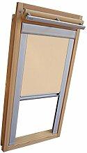 Hochwertiges Verdunkelungsrollo Rollo mit Seitenschienen für Velux DKL-EP GGL,GPL,GHL,GTL MK06 beige-karamell // Verdunkelungsrollo / Verdunkelungs-Rollo / Fensterrollo