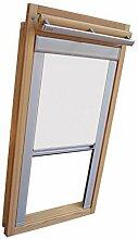 Hochwertiges Verdunkelungsrollo Rollo Thermo weiss mit Seitenschienen für Velux DG-EP VL,VG,VX 107 ALU // Verdunkelungsrollo / Verdunkelungs-Rollo / Fensterrollo
