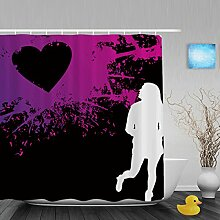 """Hochzeit Decor Badezimmer Duschvorhänge Herz Form handgeschriebene I Love You Pink Geschenk für Valentinstag Wasserdicht Mildewproof Polyester-farbbeständige-152,4x 182,9cm Zoll, Multi6, 72""""""""(Width)x80""""""""(Length)"""