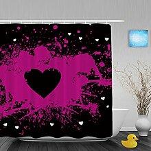 """Hochzeit Decor Badezimmer Duschvorhänge Herz Form handgeschriebene I Love You Pink Geschenk für Valentinstag Wasserdicht Mildewproof Polyester-farbbeständige-152,4x 182,9cm Zoll, Multi9, 72""""""""(Width)x80""""""""(Length)"""