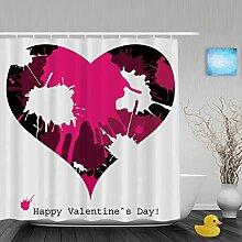 """Hochzeit Decor Badezimmer Duschvorhänge Herz Form handgeschriebene I Love You Pink Geschenk für Valentinstag Wasserdicht Mildewproof Polyester-farbbeständige-152,4x 182,9cm Zoll, Multi13, 60""""""""(Width)x72""""""""(Length)"""