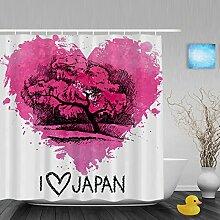 """Hochzeit Decor Badezimmer Duschvorhänge Herz Form handgeschriebene I Love You Pink Geschenk für Valentinstag Wasserdicht Mildewproof Polyester-farbbeständige-152,4x 182,9cm Zoll, Multi15, 66""""""""(Width)x72""""""""(Length)"""