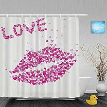 """Hochzeit Decor Badezimmer Duschvorhänge Herz Form handgeschriebene I Love You Pink Geschenk für Valentinstag Wasserdicht Mildewproof Polyester-farbbeständige-152,4x 182,9cm Zoll, Multi28, 72""""""""(Width)x80""""""""(Length)"""