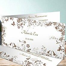 Hochzeit Einladung, Sophias Garten 100 Karten, Horizontale Klappkarte 210x100 inkl. weißer Umschläge, Braun