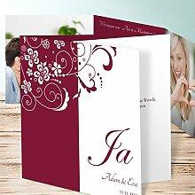 Hochzeit Einladung Vintage, Garten der Träume 5 Karten, Doppelklappkarte 145x145 inkl. weißer Umschläge, Ro
