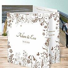 Hochzeit Einladungskarten selbst gestalten, Sophias Garten 110 Karten, Doppelklappkarte 145x145 inkl. weißer Umschläge, Braun