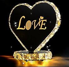 Hochzeit Liebe Kristall Tischlampe LED Dekoration Für Schlafzimmer Nachttischlampe Hochzeitsgeschenk Herzform Moderne Luxus Tischleuchten ( Farbe : Warmes Licht )