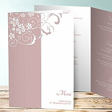 Hochzeit Menükarte, Garten der Träume 130 Karten, Vertikale Klappkarte (A5) 145x210, Lila