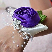 Hochzeit Zubehör dekoriert europäischen Stil Handgelenk Blumen künstliche Blumen ( Color : Dark purple )